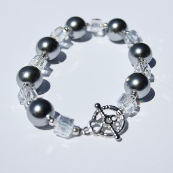 Gray Glass Pearl and Clear Iridescent Czech Bead Bracelet