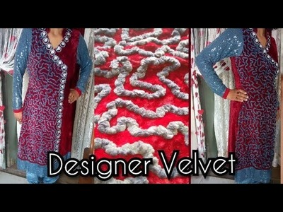 How To Design A Velvet Dress in Simple Easy Steps| Designer Dreses | by kushi maqbool