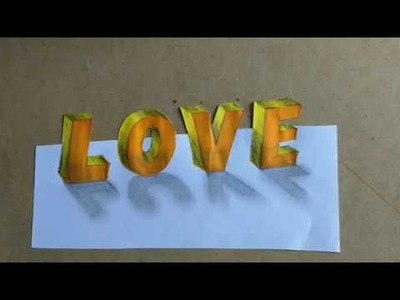 """How to draw 3d Art """"LOVE"""" l simple and easy Art"""