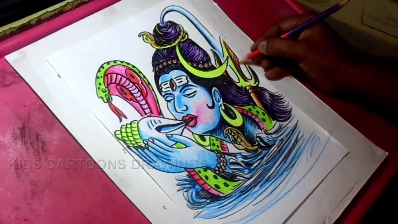 How to Draw Lord Shiva Shankara Color Drawing