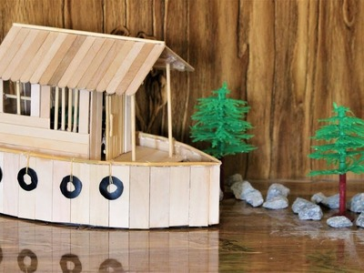 How to make a BOAT HOUSE using Popsicle Sticks