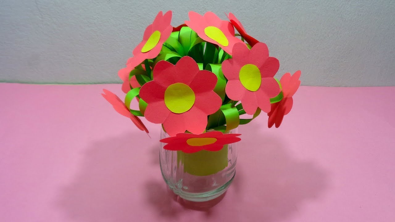 How To Make A Bunch Of Paper Flowers With Flower Vase Diy Easy