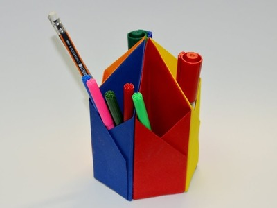 How to make a paper easy pen holder - Easy Tutorials