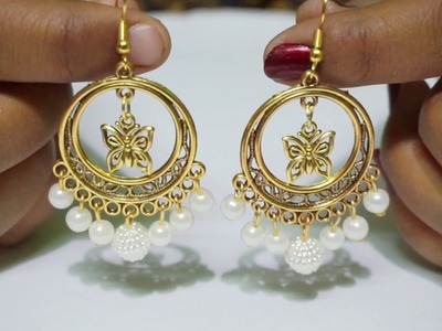 How To Make Antique Pearl Drop Earrings At Home | DIY | chandbali Earrings | uppunutiashwini
