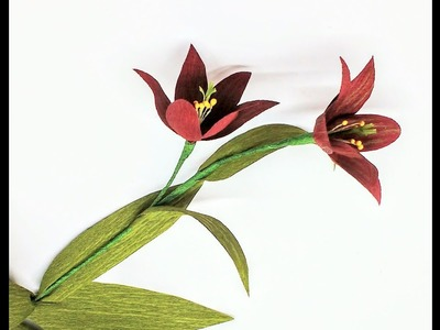 How to make Crepe Paper Flowers Chocolate Lily. Fritillaria (flowers # 250)