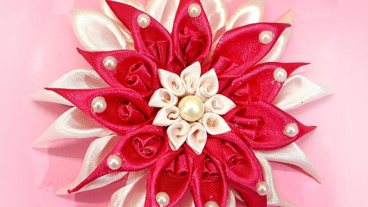 How to Make Satin Ribbon Flower | DIY Kanzashi Flower Hairclip | Kanzashi Flower Making Tutorial