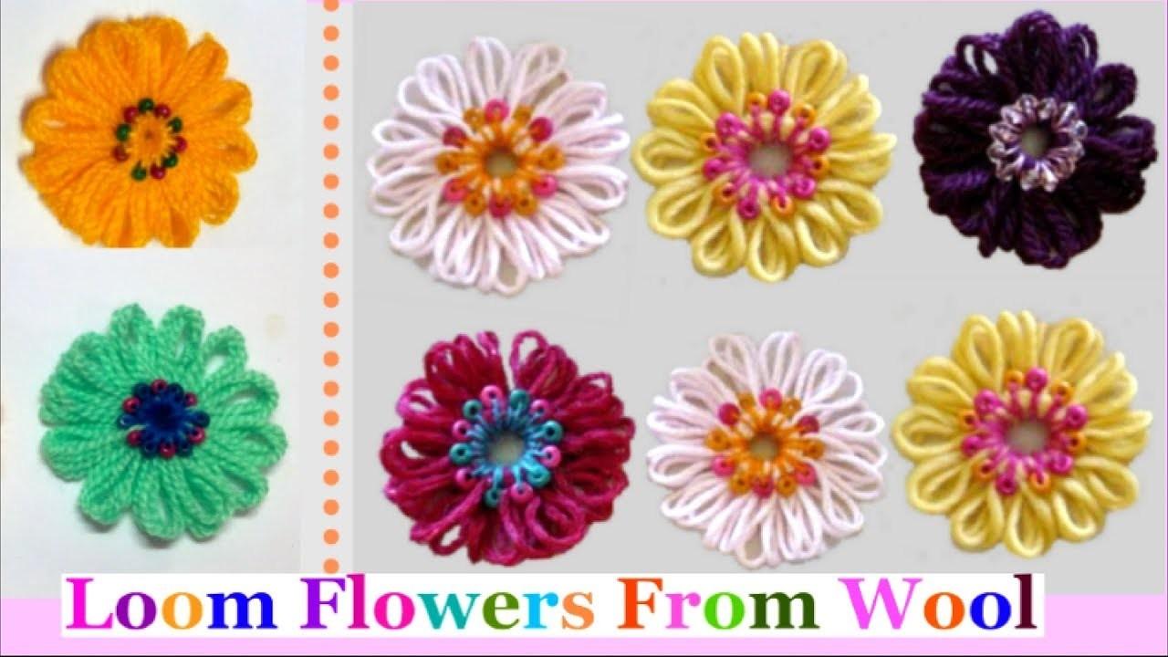 Wool Loom Flower Step by Step at Home-Easy Loom Flowers   DIY Yarn.Wool Craft idea