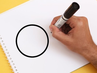 How to turn CIRCLE into a Cartoon ORANGE ! Learn drawing art on paper for kids