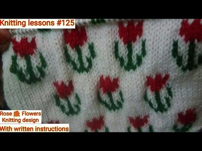 Multi-colour rose flower design || beautiful and Easy to make || sweater design by Knittinglessons