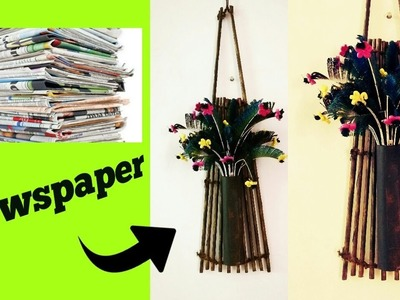 Newspaper wall hanging.hanging flower Newspaper basket.diy wall decor.room decor.Art my passion