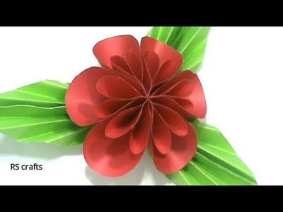 কাগজ দিয়ে সুন্দর ফুল ও পাতা কিভাবে তৈরি করে দেখুন.how to make flower with paper