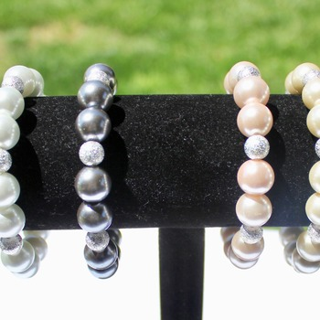 Various Colored Glass Pearl Bracelets with Glitter Accent Beads