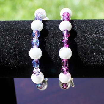 Various White Glass Pearls and Iridescent Czech Bead Bracelets