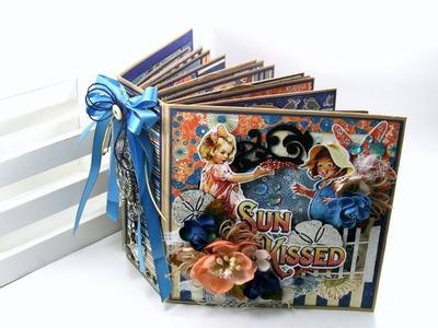 Vintage Sun Kissed Mini Album Scrapbook Polly's Paper Studio Graphic 45 Midori  Tutorial Handmade