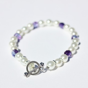 White Glass Pearl and Purple Iridescent Czech Bead Bracelet