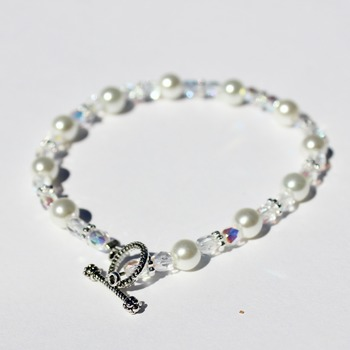 White Glass Pearls and Clear Iridescent Czech Bead Bracelet