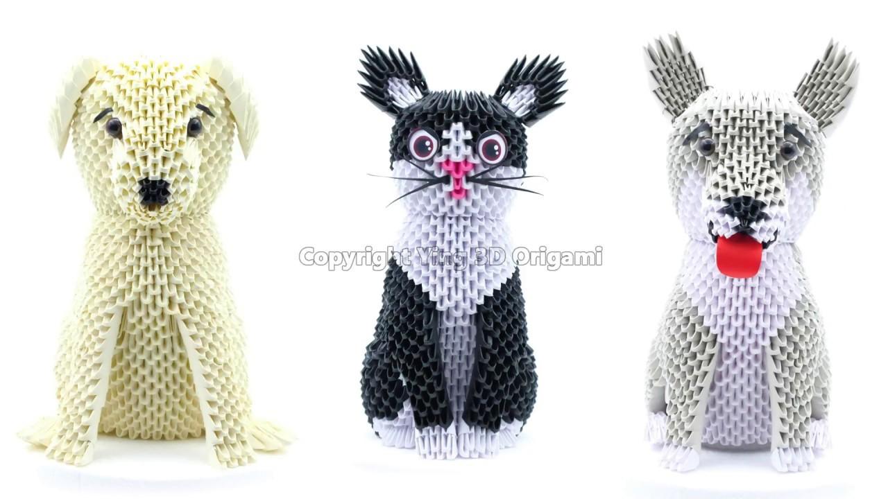 3d Origami Cat Dog 4k Gatto Cane Diagram