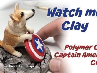 DIY Captain America Corgi + Polymer Clay + Watch Me Clay