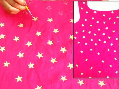 DIY : Golden Star Printing on Kurti \ Top | Fabric Printing Techniques | Block Printing at Home