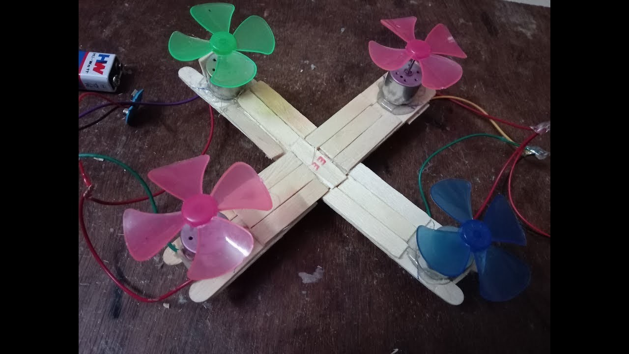 DIY: How to make drone model with popsicle sticks