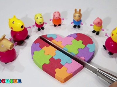 Diy Kinetic Sand Cutting Rainbow Heart Cake Kinder Egg Peppa Pig Surprise Toys Learn Colors for Kids