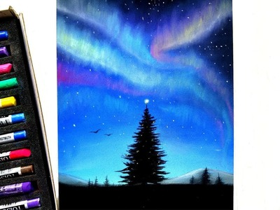 Drawing a Christmas tree and the Northern lights | Leontine van vliet