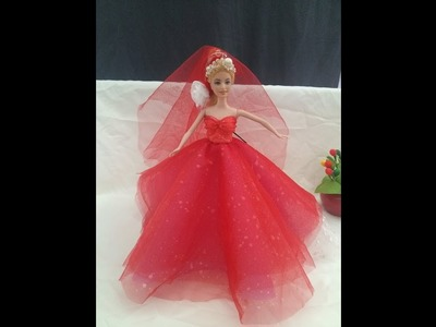 Guiding how to sew wedding dress for barbie doll!! Fashion Designer