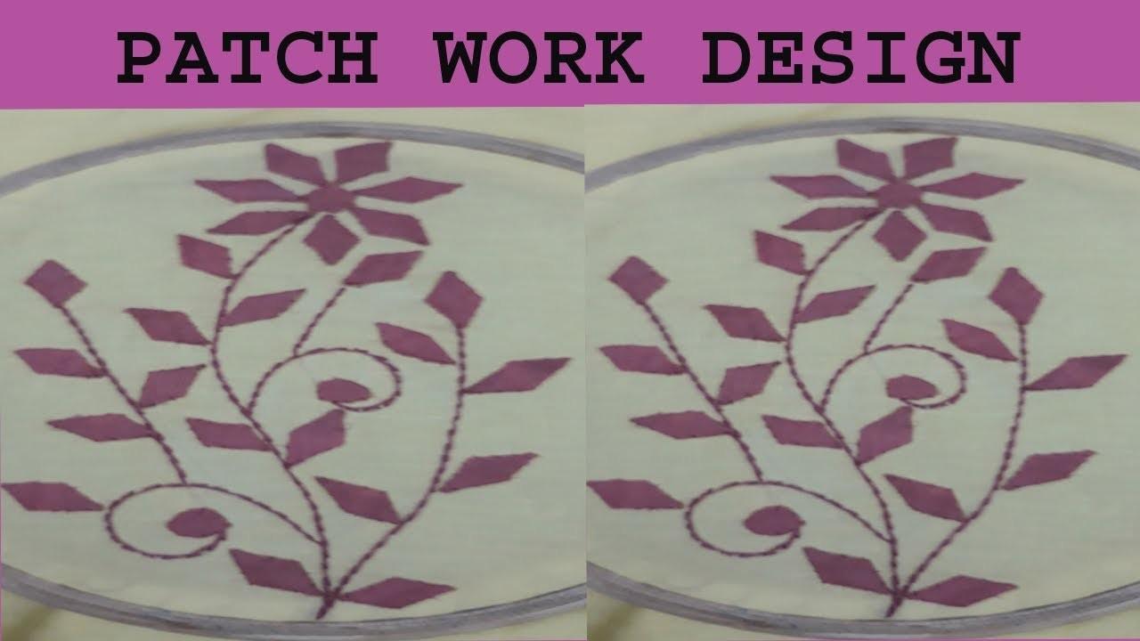 Hand embroidery.aplic work small leaf design tutorial.rilli work