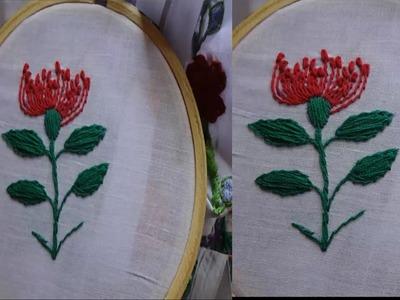 Hand Embroidery  Flower Stem Stitch by Amma Arts