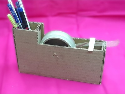 How to Make a Tape Cutter with Pen Stand using Cardboard - DIY