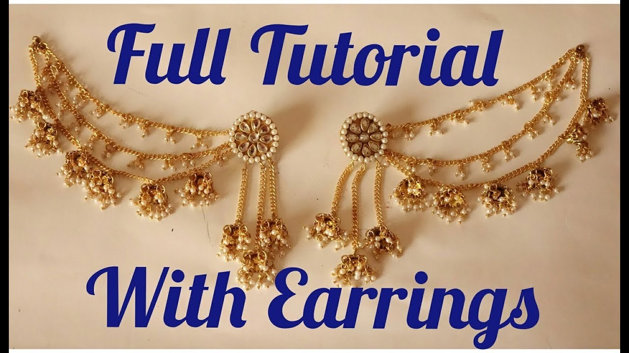 How to make Bahubali Earrings at Home - Full Tutorial Earrings with Chain - Art with HHS