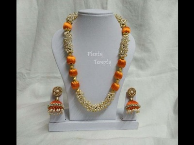How to make silk thread necklace| with loreals pearls| Silk thread jewellery