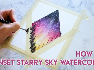 HOW TO PAINT: Sunset Starry Sky Watercolor