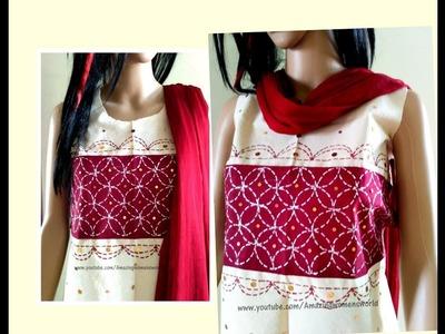 Kantha Embroidery||Running Stitch Basic Pattern-1-Designing Churidar.Kurti.Blouse|Liquid Embroidery