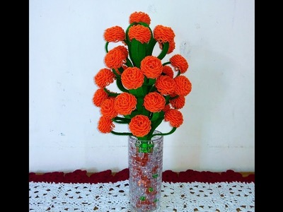 Make Woolen and X-Rays Paper Beautiful Flower Guldasta.Vase of New Design.