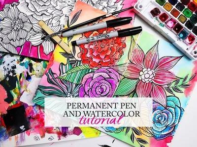 Permanent pen and watercolor tutorial