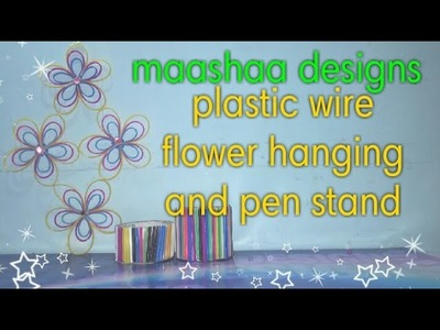 Plasticwire flower clear tutorial [wall hanging and pen stand][கூடை வயரில் பூ,பென் ஸ்டன்ட் செய்தல்]