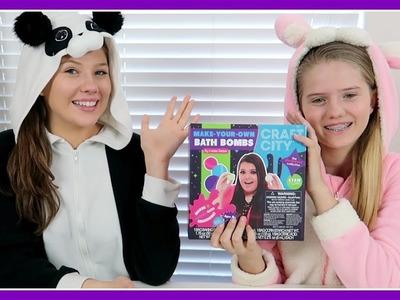 TRYING KARINA GARCIAS BATH BOMB KIT || DIY BATH BOMBS || Taylor and Vanessa
