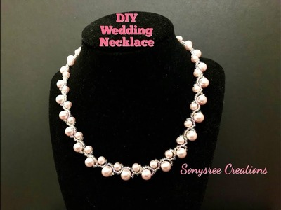 Wedding Necklace with 8mm pearls and 6mm pearls.