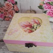 Wooden decoupage box, original gift, gift for woman,handmade, 2017, gift, unique, wooden box