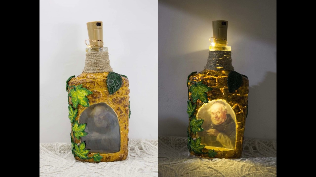 #65 decoupage tutorial - how to decoupage glass bottle with reverse decoupage into lamp