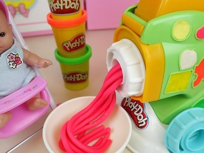 Baby Doll and Play doh spaghetti maker cooking toys baby Doli play