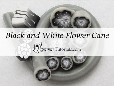 Black and White Polymer Clay Flower Cane Tutorial