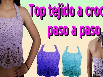 Como hacer Top a crochet o ganchillo paso a paso parte #2. how to make crochet top crop