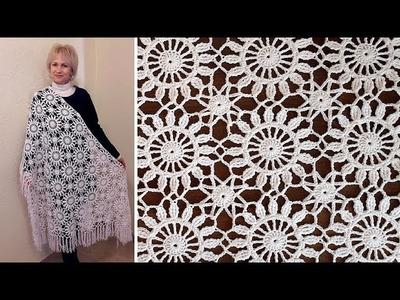 Crochet easy   Motif for shawl  Part 4 Border