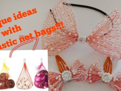 Cute accessories using plastic onion.fruit net bags | How to make useful things from fruit net bags