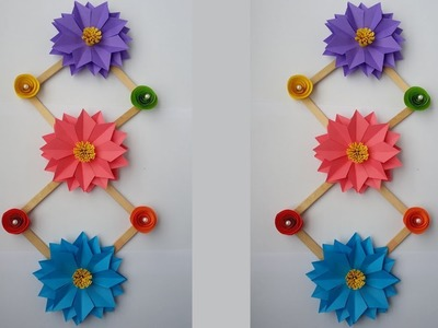 DIY: How to Make Beautiful Wall Hanging With Paper & Ice cream Stick!!!!