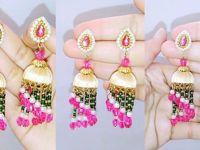 DIY||How To Make Chandelier Earrings Jumka Style.Party ware earrings.
