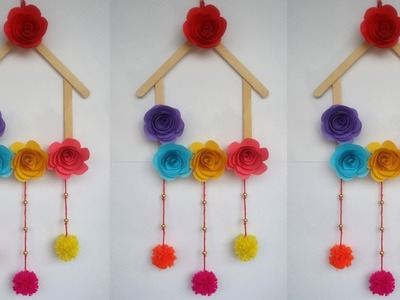DIY: Ice cream Stick Crafts!!! How to Make  Wall Hanging With Ice cream Stick.Popsicle Stick!!!