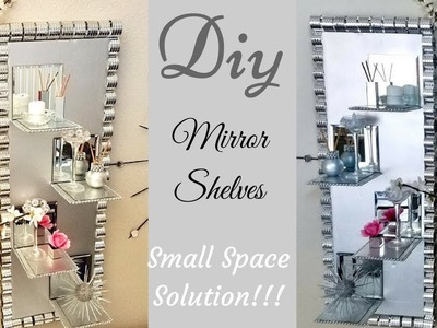 Diy Wall Decor Mirror.Glass Display Shelves| Small Space Solutions with Dollar Tree Items!